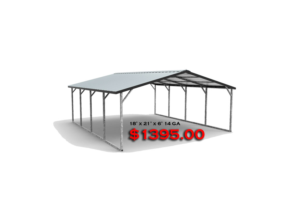 18x21x6 Carport with Vertical Roof